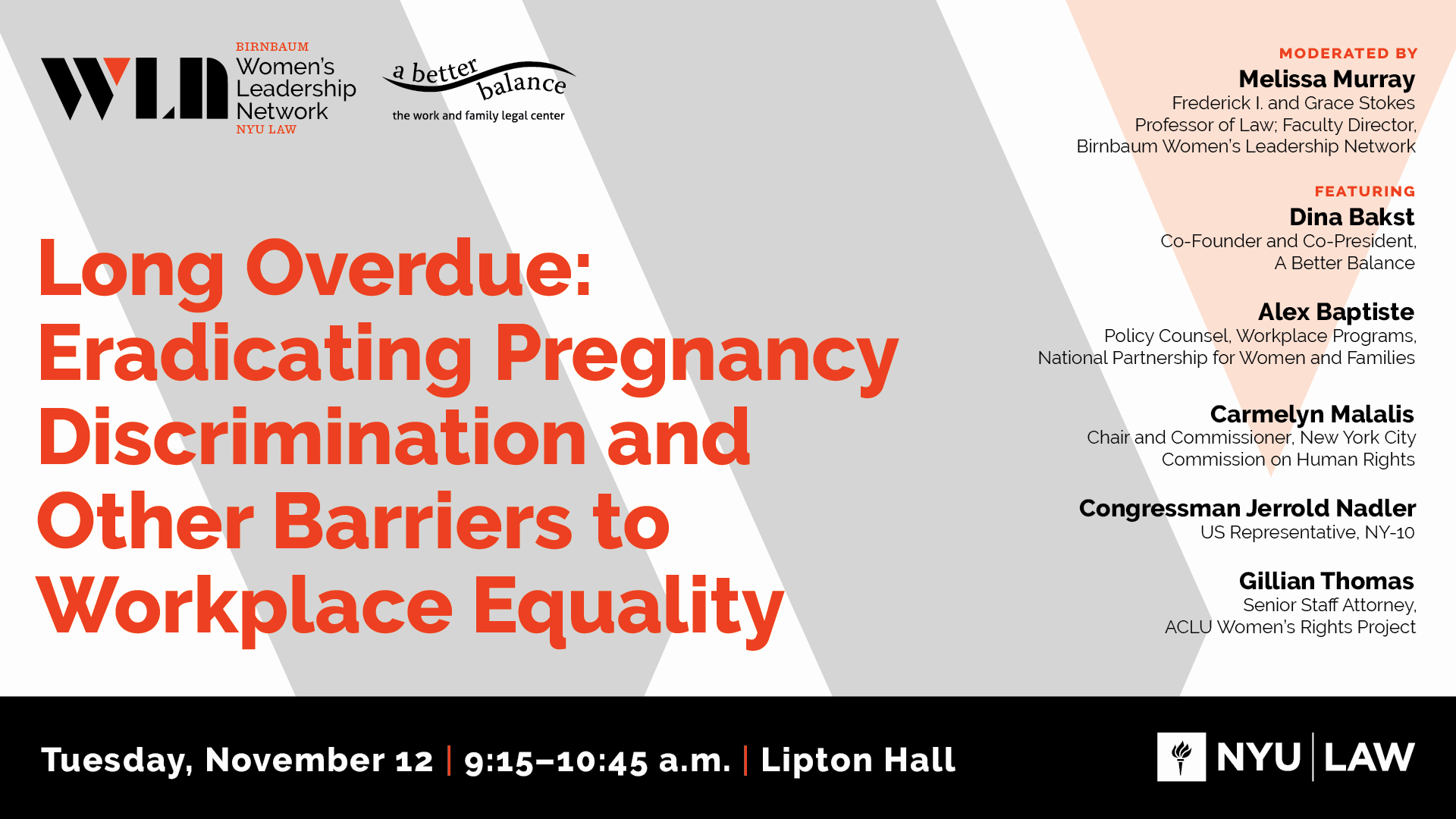 """Join Us At NYU Law 11/12 With Rep. Nadler For """"Long Overdue: Eradicating Pregnancy Discrimination And Other Barriers To Workplace Equality"""""""